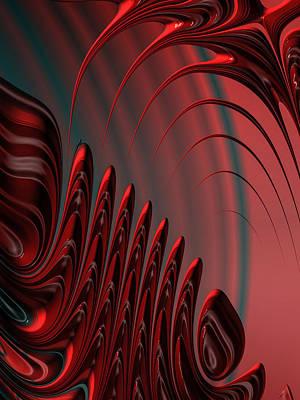 Red And Black Modern Fractal Design Art Print