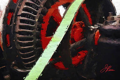 Painting - Red And Black Wheel by Joan Reese