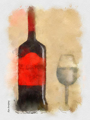 Pouring Wine Digital Art - Red And Black Wine Bottle And Glass by Alan Armstrong