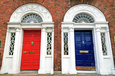 Photograph - Red And Blue Dublin Doors by John Rizzuto