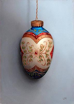 Red And Blue Filigree Egg Ornament Art Print