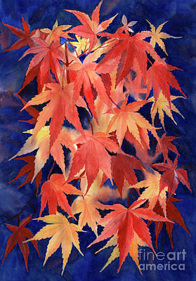 Dark Red Painting - Red And Blue Maple Leaf Design by Sharon Freeman