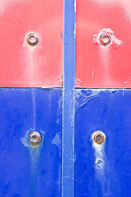 Messy Photograph - Red And Blue Metal by Tom Gowanlock