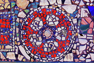 Photograph - Red And Blue Mosaic Tiles by Jill Lang