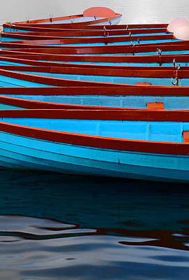 Photograph - Red And Blue Paddle Boats by Caroline Reyes-Loughrey