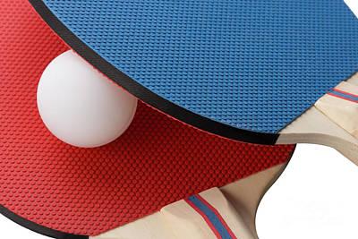 Red And Blue Ping Pong Paddles - Closeup Art Print