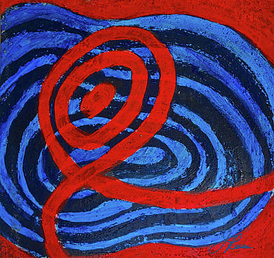 Painting - Red And Blue Raceway by Joan Reese