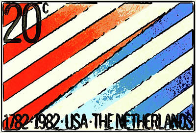 Diplomatic Relations Painting - Red And Blue Strips With The Words Of 1782 1982 Usa by Lanjee Chee