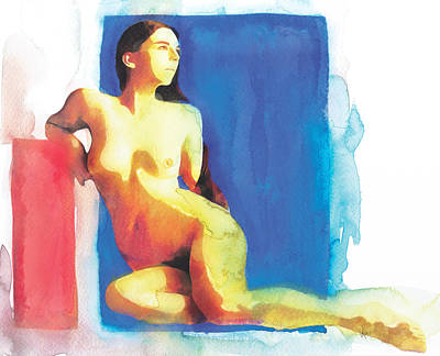 Nude Painting - Red And Blue Nude Women Sitting by Vya Artist