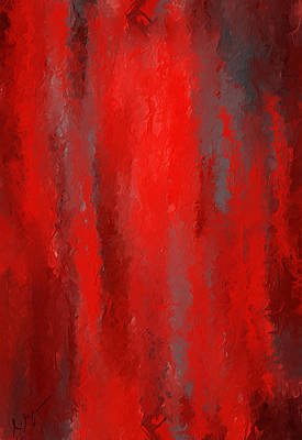 Red And Bold - Red And Gray Art Art Print by Lourry Legarde