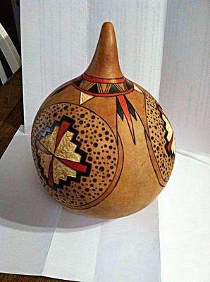 Mixed Media - Red And Brown Gourd by Diane Haugen