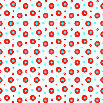 4th July Digital Art - Red And Cyan Circles Pattern by SharaLee Art