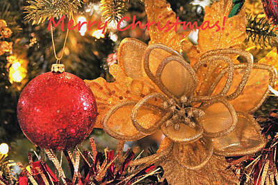 Photograph - Red And Gold Christmas Ornaments by Sheila Brown