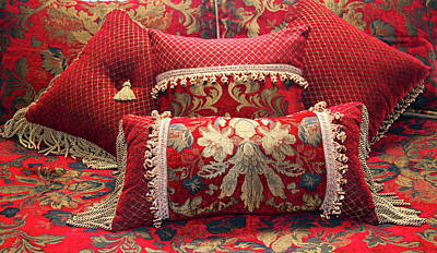 Photograph - Red And Gold Decorative Pillows by Amelia Painter