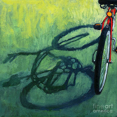 Bike Riding Painting - Red And Green - Bike Art by Linda Apple