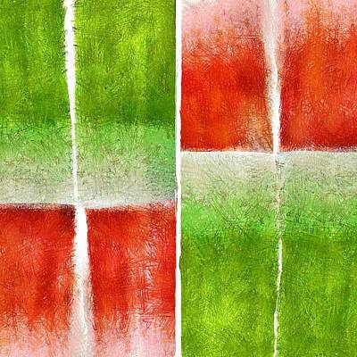 Digital Art - Red And Green Abstract by Patricia Strand
