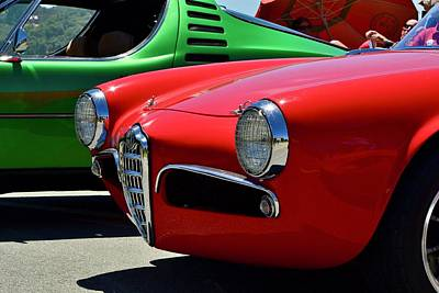 Photograph - Red And Green Alpha Romeos by Dean Ferreira