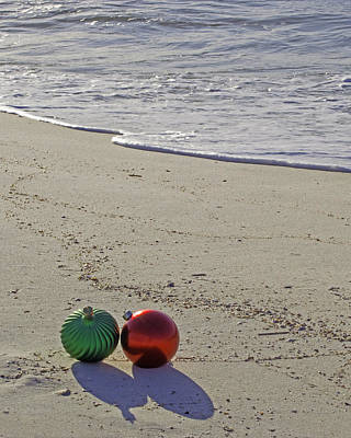 Red And Green Bulbs In The Surf Verticle Original