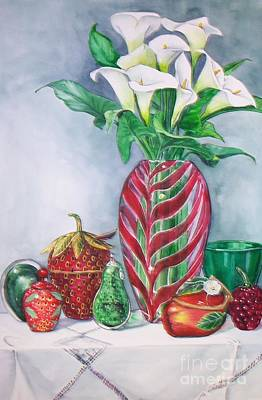 Painting - Red And Green Composition by Jane Loveall