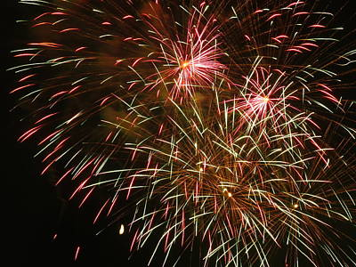 Photograph - Red And Green Fireworks by Kyle West