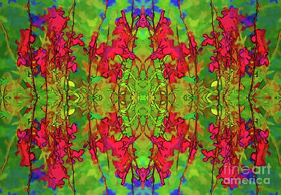Art Print featuring the digital art Red And Green Floral Abstract by Linda Phelps