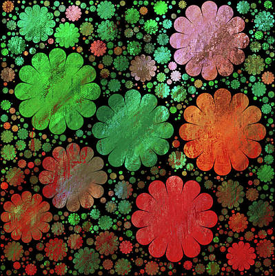 Mixed Media - Red And Green Grunge Garden Decorative Abstract by Georgiana Romanovna