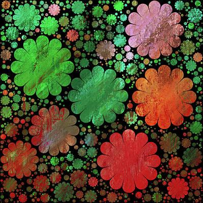 Mixed Media - Red And Green Grunge Garden Decorative Abstract by Georgiana Romanovna