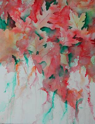 Painting - Red And Green Leaves by Linda Bein