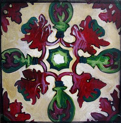 Ceramic Art Tile Painting - Red And Green Pattern by Luciana Toma