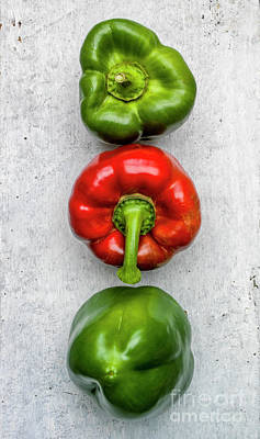 Green Color Photograph - Red And Green Peppers by Bernard Jaubert