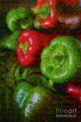 Photograph - Red And Green Pixeled Peppers by Sandy Moulder