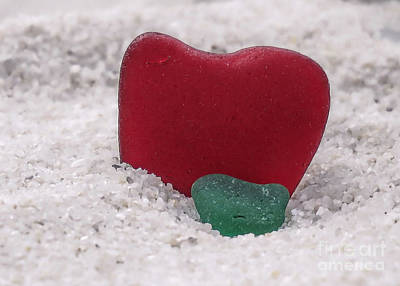 Photograph - Red And Green Sea Glass  by Janice Drew