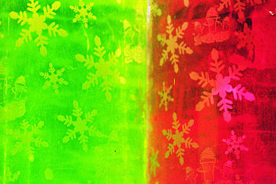 Red And Green With A Snowflake Pattern Art Print by Richard Henne