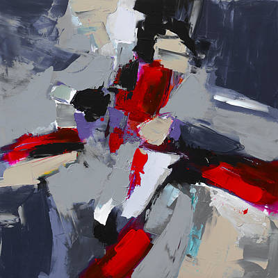 Handmade Painting - Red And Grey Abstract By Elise Palmigiani by Elise Palmigiani