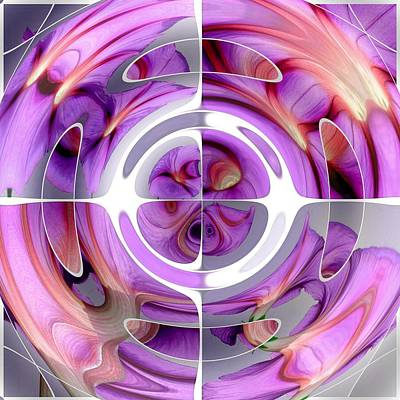 Digital Art - Red And Lilac Abstract Collage by Tracey Harrington-Simpson