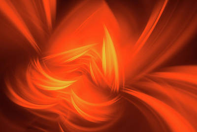 Modern Fractal Art Photograph - Red And Orange Fractal Abstract by Matthias Hauser