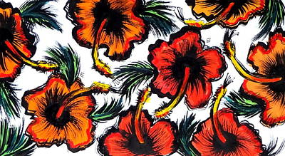 Hibiscus Drawing - Red And Orange Hibiscuses by Erica Seckinger