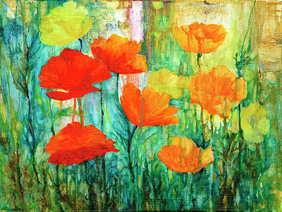 Painting - Red And Orange Poppies1 by Peggy Wilson