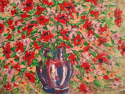 Painting - Red And Pink Poppies. by Leonard Holland