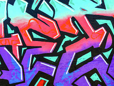 Photograph - Red And Purple Lettering Urban Art by SR Green