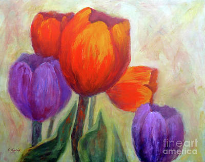 Painting - Red And Purple Tulips by Carolyn Jarvis