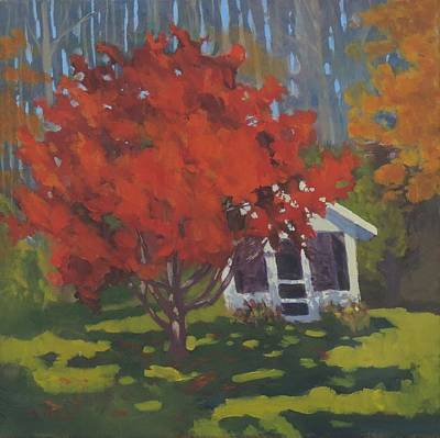 Painting - Red And Shed by Bill Tomsa