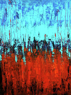 Painting - Red And Turquoise Abstract by Asha Sudhaker Shenoy
