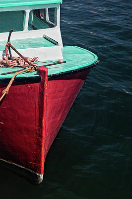 Photograph - Red And Turquoise Fishing Boat by Carol Leigh