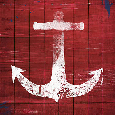 Rustic Mixed Media - Red And White Anchor- Art By Linda Woods by Linda Woods