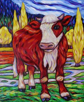 Print featuring the painting Red And White Bull Calf by Dianne  Connolly