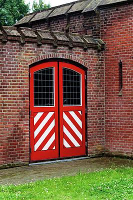 Red And White Door Of Outbuilding. De Haar Castle Art Print
