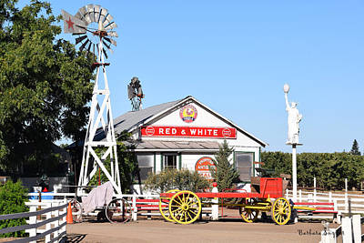Wagon Wheels Photograph - Red And White Food Stores by Barbara Snyder