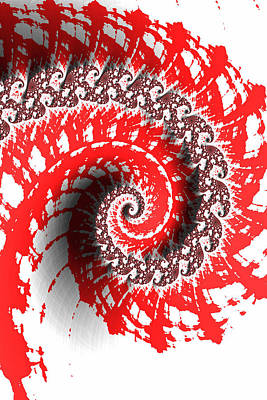 Photograph - Red And White Fractal by Bonnie Bruno
