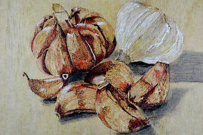 Painting - Red And White Garlic by Zilpa Van der Gragt
